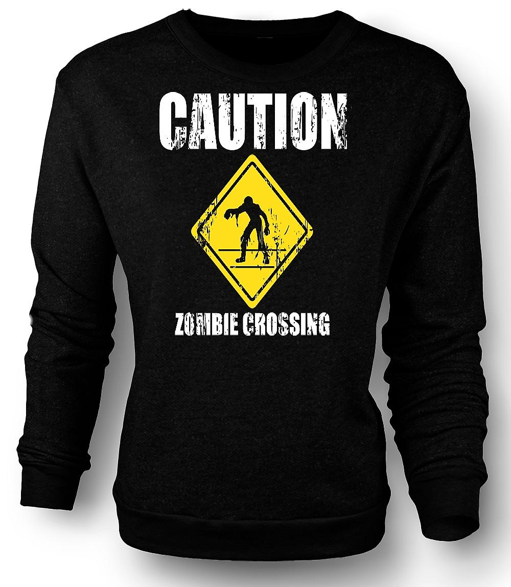 Mens Sweatshirt Zombie Crossing - Funny - Horror