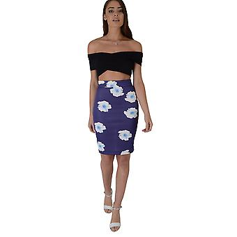 Lovemystyle Purple Bodycon Midi Skirt With Floral Print