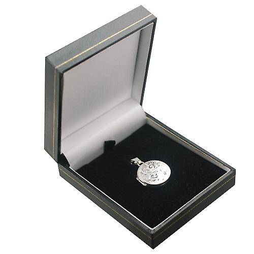 Silver 20mm engraved flat round Locket