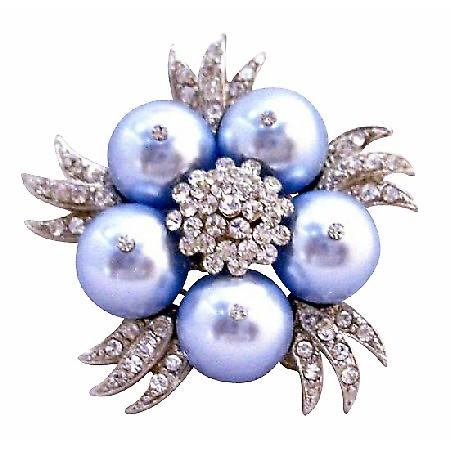 Fashionable Bridal Party Wedding Swarovski Lite Blue Brooch
