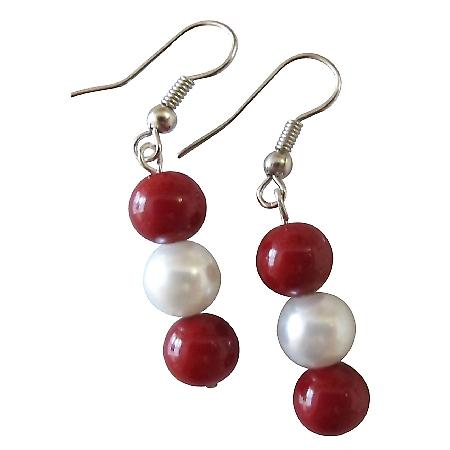 Red White Combo Jewelry Valentine Gift Coral w/ White Pearls Earrings