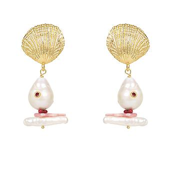 Scallop Shell Baroque Pearl Coral Drop Earring White Yellow Gold Big Long
