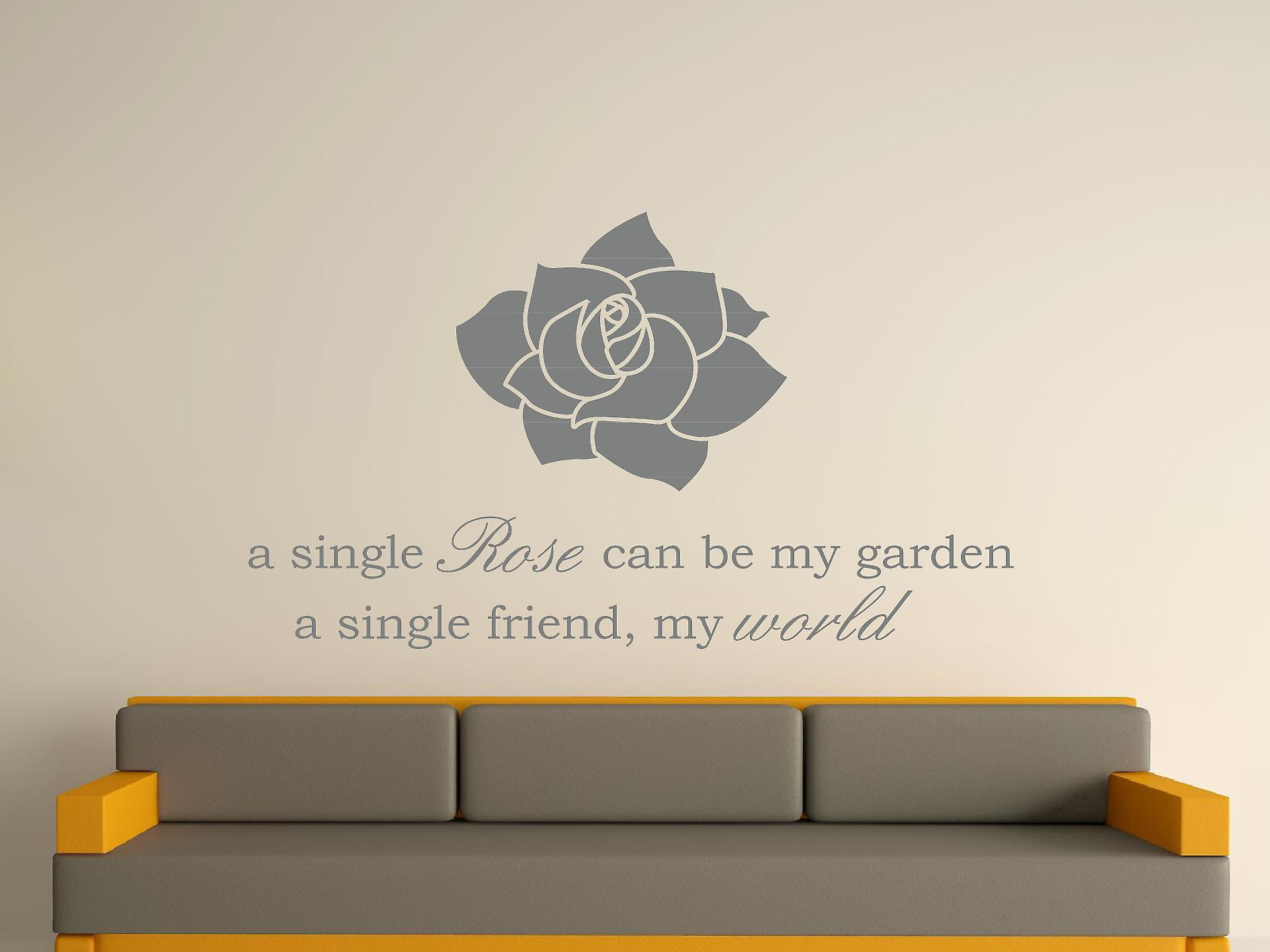 A Single Rose Wall Art Sticker -  Grey