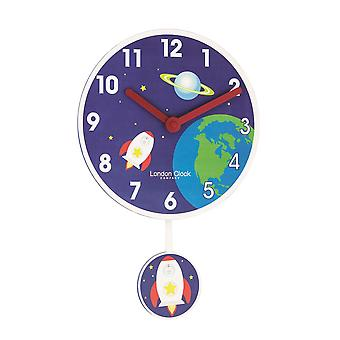 40cm Blue Rocket Pendulum Children's Wall Clock