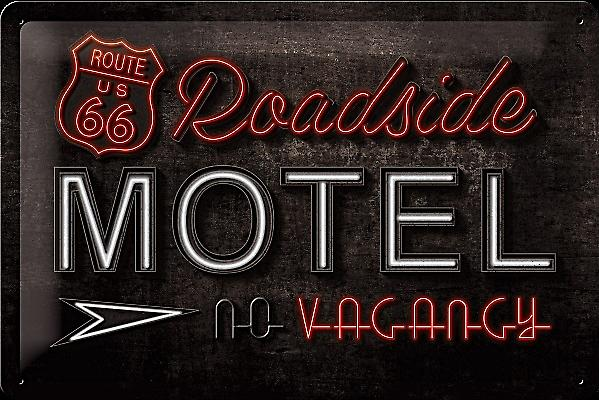 Route 66 Roadside Motel embossed metal sign  300mm x 200mm (na)