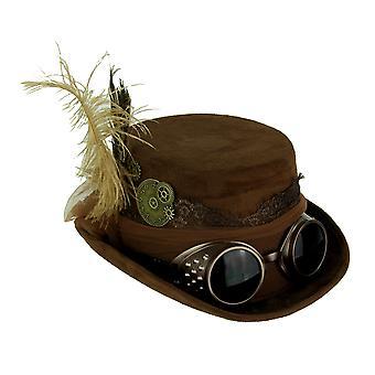 Bruin Victoriaanse dames Steampunk hoge hoed met veren en Tulle Bow