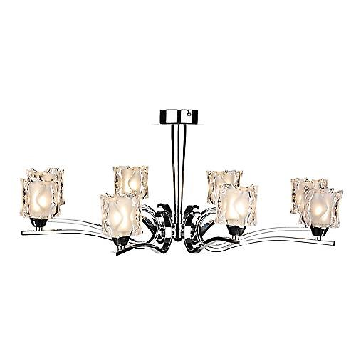 Dar ZOL0850 Zola 8 Light Semi-Flush Mounted Polished Chrome Ceiling Light