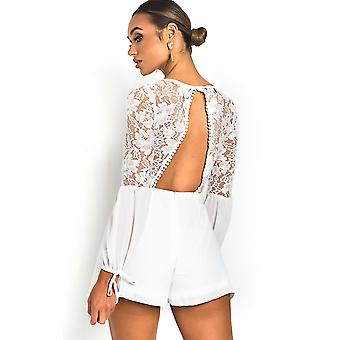 IKRUSH Womens Erim Crochet Lace Backless Playsuit