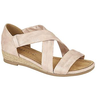 Ladies Womens Sandals Wedge Heel-In Stretchy Crossover Bar Espadrilles Shoes