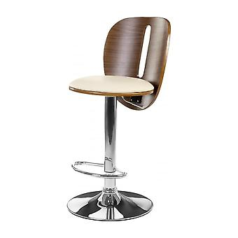 Fusion Living Cream Faux Leather And Walnut Contemporary Bar Stool