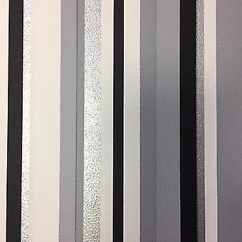 Barcode Striped Wallpaper Taupe Beige Black White Silver Metallic Debona