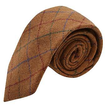 Erfgoed Check rustiek bruin Tie, Tweed, Mens stropdas