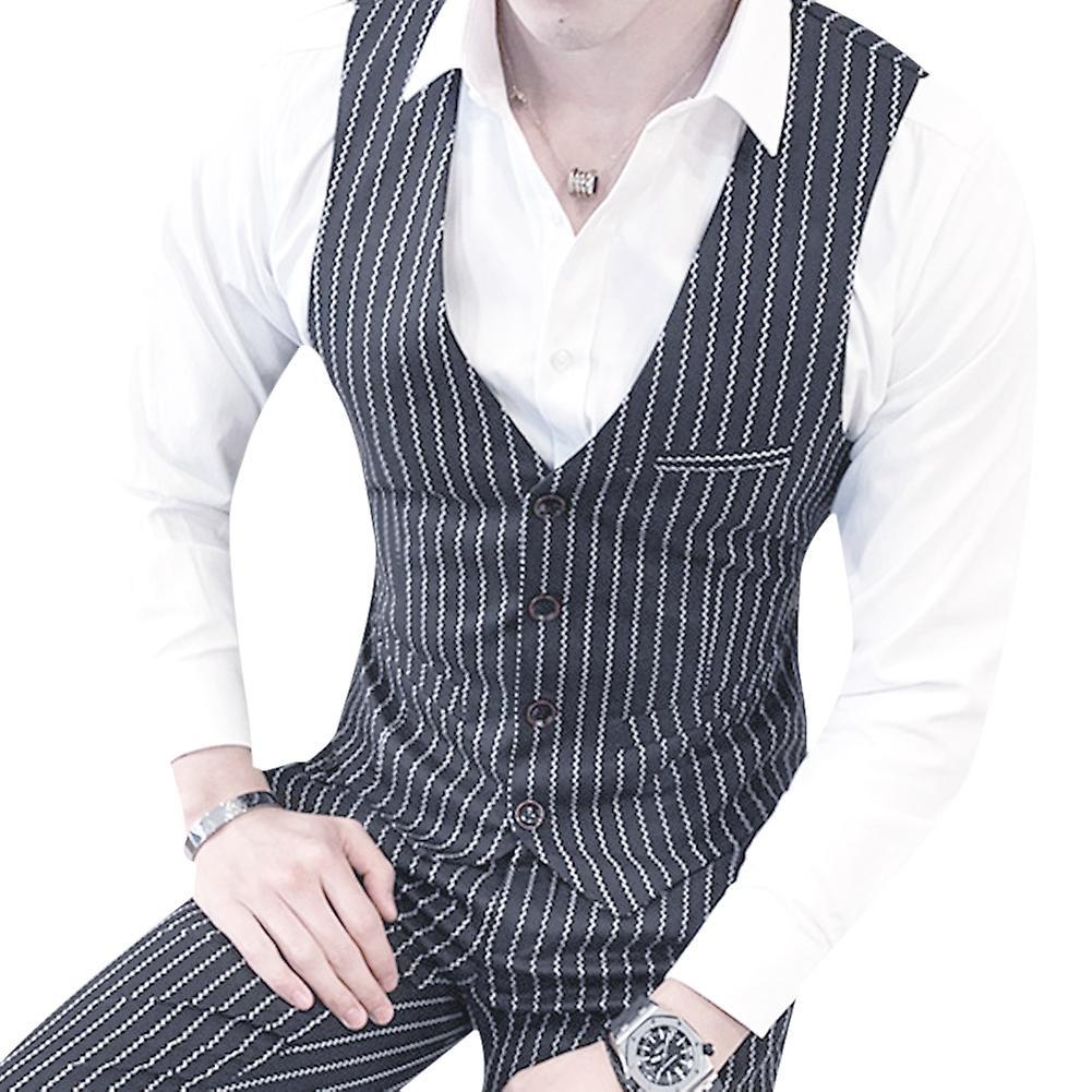 Allthemen Mens 3pcs Silm fit Striped 3 pieces Suit( Blazer& Vest &Pants )