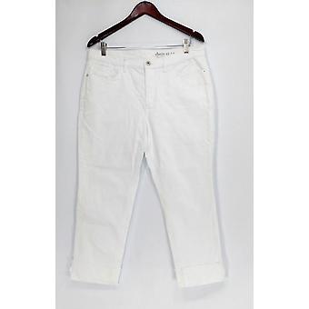 Denim & Co. Petite Jeans Classic Denim Cuffed Cropped Pants Weiß A305413