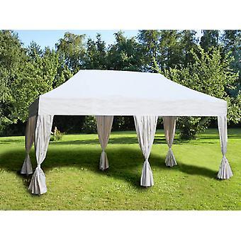 Namiot Ekspresowy FleXtents Easy up pavillon Steel 3x6m Biały, zawierający 6 ozdobnymi kurtynami