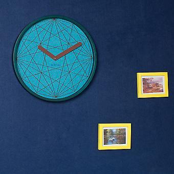 NeXtime - Wall clock - Ø 50 cm - Wood/Fabric – Turquoise – 'Calmest'