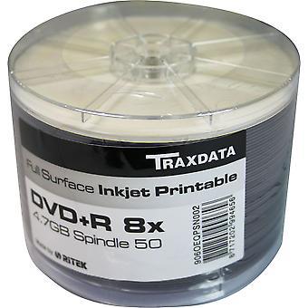 DVD-R 8 X TRAXDATA FF weiß Full Face Inkjet Printable Rohling - 50 Spindel beschreibbare DVDs