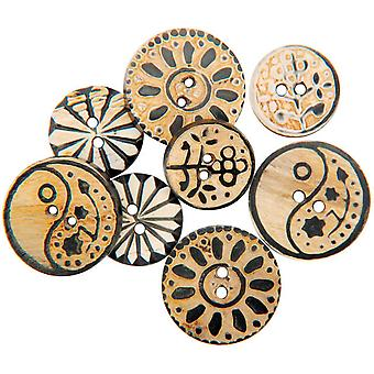 Handmade Bone Buttons Carved Circle Designs 8 Pkg 1738