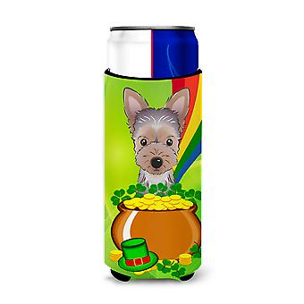 Yorkie Puppy St. Patrick's Day Michelob Ultra Koozies for slim cans BB1976MUK