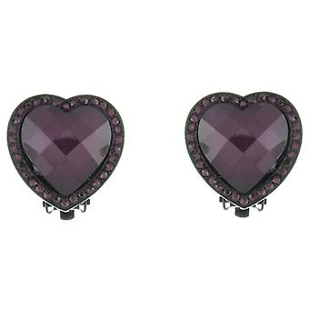 Clip en Clip de corazón de cristal púrpura amatista Pendientes tienda en pendientes