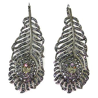 Kenneth Jay Lane Large Hematite Crystal Feather Drop Earrings