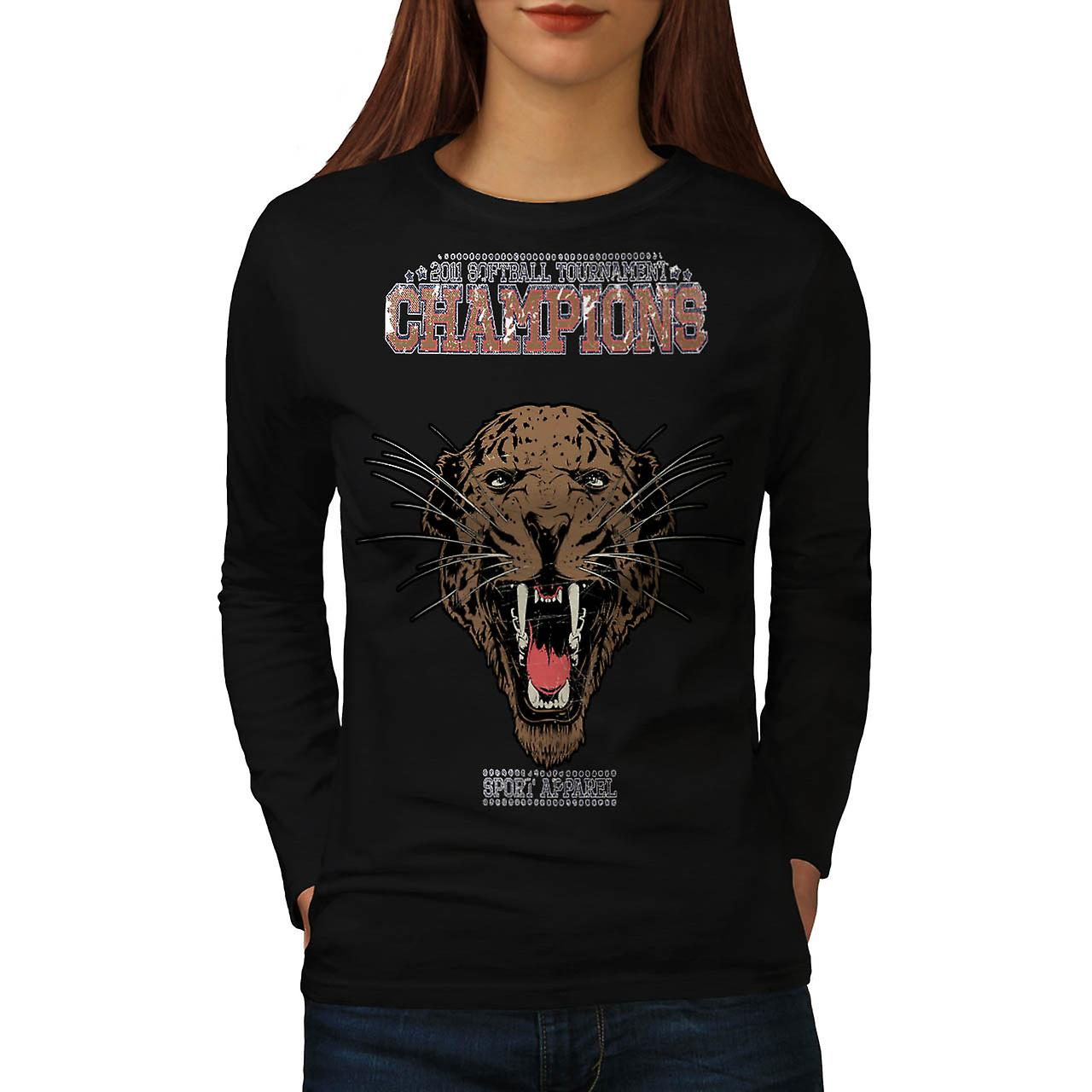 Cougar Sports Team Champions donna manica lunga t-shirt nera | Wellcoda