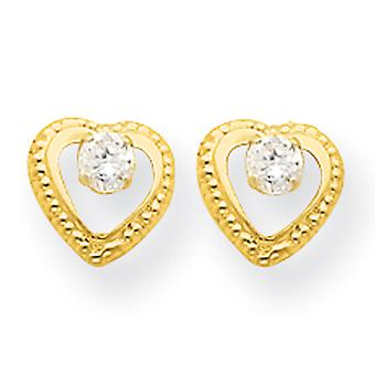 14k Gold Heart With CZ Post Earrings