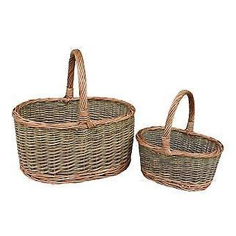 Childs Set of Two Country Oval Wicker Shopping Baskets