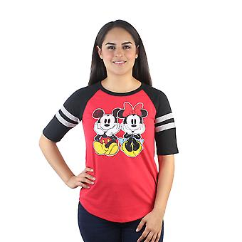 Disney Mickey & Minnie Mouse Sitting Junior's Red Jersey Stripes