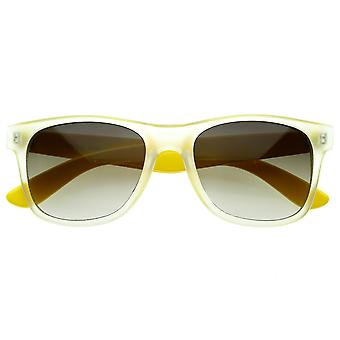 Retro Trendy New Frosted Neon Color Two Tone Classic Horn Rimmed Sunglasses