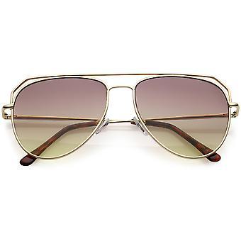 Modern Aviator Sunglasses Open Metal Double Crossbar Gradient Flat Lens 55mm