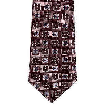 Michelsons of London Large Diamond Neat Silk Tie - Wine Red