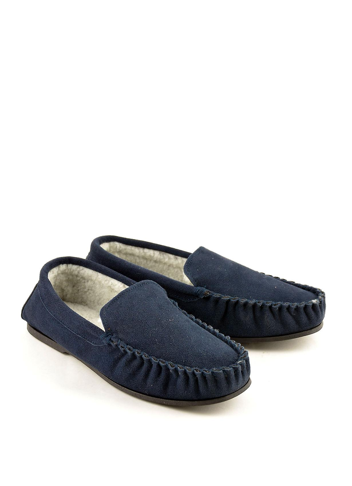 Scandic Suede Moccasin Slippers with Faux Lining in Navy