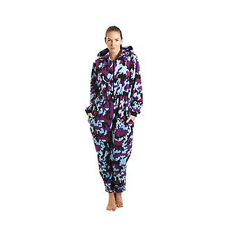 Camille Womens Damen Luxus alles In Pink und Aqua abstrakte Hooded Fleece Pyjama Onesie Einheitsgröße 10-40