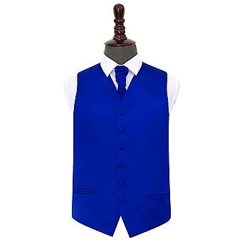 Royal Blue platte satijnen bruiloft gilet & Cravat Set