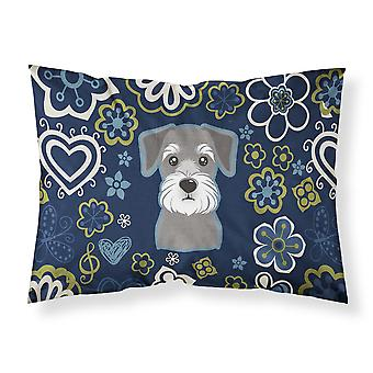 Blue Flowers Schnauzer Fabric Standard Pillowcase