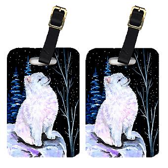 Carolines Treasures  SS8389BT Starry Night American Eskimo Luggage Tags Pair of