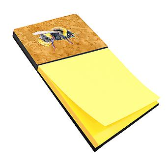 Bee on Gold Refiillable Sticky Note Holder or Postit Note Dispenser