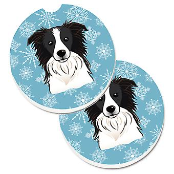 Snowflake Border Collie Set of 2 Cup Holder Car Coasters