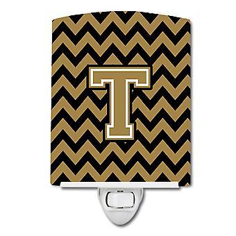 Letter T Chevron Black and Gold  Ceramic Night Light
