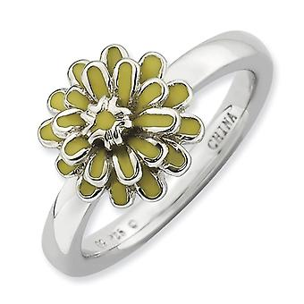 Sterling Silver Enamel Polished Rhodium-plated Stackable Expressions Calendula Ring - Ring Size: 5 to 10