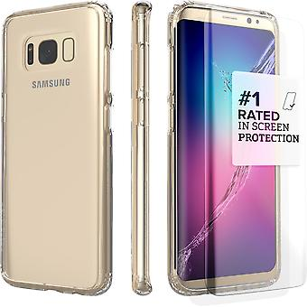 SaharaCase Galaxy S8 Clear Case, Protection Kit with ZeroDamage Tempered Glass - Crystal