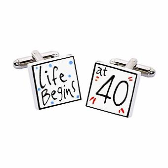Life Begins at 40 Cufflinks by Sonia Spencer, in Presentation Gift Box. Hand painted