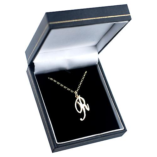 9ct Gold 26x14mm plain Initial R Pendant with a belcher Chain 16 inches Only Suitable for Children