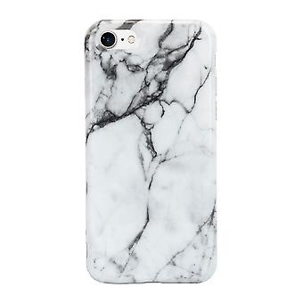 iPhone 7 Marble Stone Effect High Shine Protective Case - White / Grey