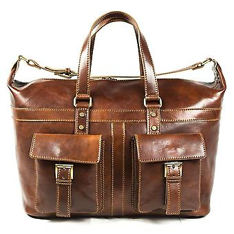 Genuine Italian Leather Travel Bag Hand Luggage Holdall Weekend Overnight Brown Unisex