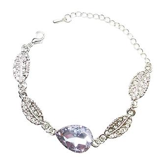 Crystal Jewellery Bracelet Silver Light Purple Stone Teardrop Leaf