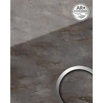 Wall Panel glass optics WallFace 20223 GENESIS grey AR + wall panelling shiny adhesive abrasion resistant grey anthracite grey smooth in marble look 2.6 m2