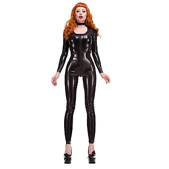 Westwaarts gebonden rode Label - Mia Scoop nek Latex Rubber Catsuit