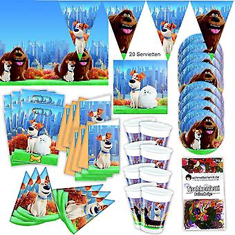 Pets of the movie party Kit XL 63-teilig for 6 guests Petsparty birthday decoration party package
